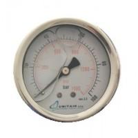 """Μανόμετρο UNITAIR Φ.63 οριζόντιο 1/4"""" γλυκερίνης"""